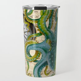 Octopus Compass Green Music Collage Travel Mug