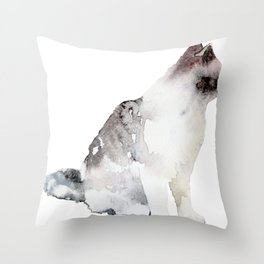 Watercolor Cat Paintng Throw Pillow