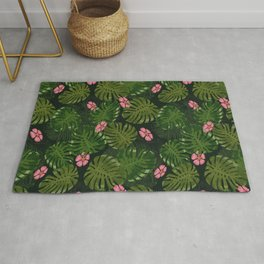 Modern Green Flower And Tropical Jungle Rug