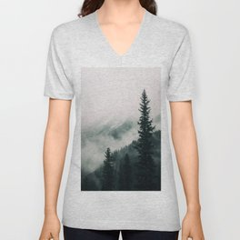 Over the Mountains and trough the Woods -  Forest Nature Photography Unisex V-Neck