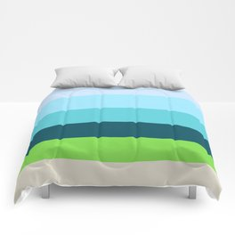 Succulent Blues & Green Colorful Pattern Comforters