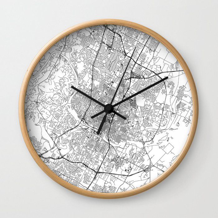 Austin White Map Wall Clock