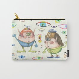 two quirky cute roly poly cyclops and some eyes, ivory cream off white natural white Carry-All Pouch