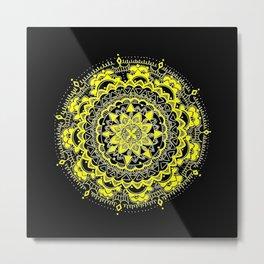 Black and Yellow Gold Regal Mandala Metal Print