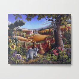 Raccoon and Squirrel Country Farm Landscape Metal Print