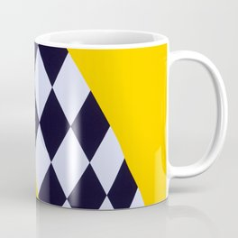 Abstract Medieval Flag Of Yellow Color With A Black And White Checks Coffee Mug