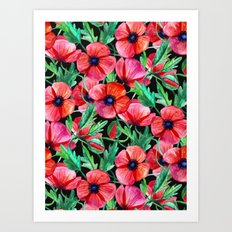 Plenty of Poppies - black Art Print