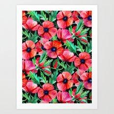 Plenty of Poppies - black Art Print