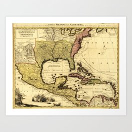 Map of Central America and Surroundings (1710) Art Print