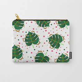 Monstera Leaves with Gold Pink and Green Geometric Confetti Carry-All Pouch