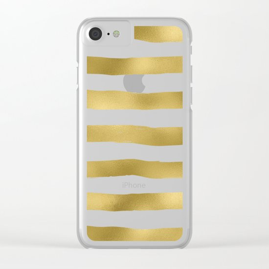 Gold stripes on clear white - horizontal pattern Clear iPhone Case