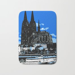 Koeln Cologne retro vintage style travel advertising Bath Mat