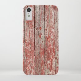 Rustic red wood iPhone Case