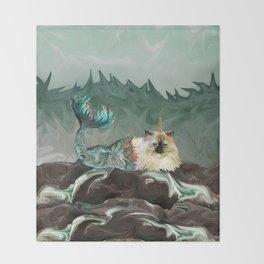 Behold the Mythical Merkitticorn - Mermaid Kitty Cat Unicorn Throw Blanket
