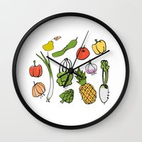vegetable Wall Clocks featuring Vegetable Garden by AmiDolls