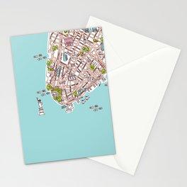 Fun New York City Manhattan street map illustration Stationery Cards