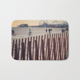 People cycling on Santa Monica beach, California, USA Bath Mat