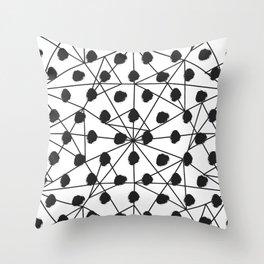Geometrical black white watercolor polka dots Throw Pillow