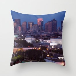 Blue hour in Boston Throw Pillow