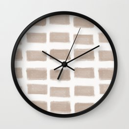 Brush Strokes Horizontal Lines Nude on Off White Wall Clock