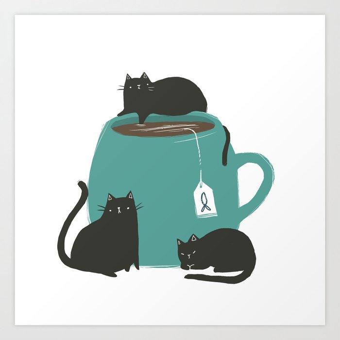 CATS + TEA Art Print by kelseykingillustration | Society6