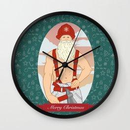 Santa Fireman Wall Clock