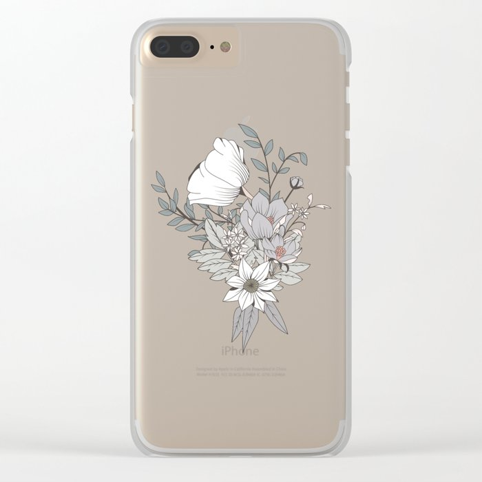 Seamless pattern design with hand drawn flowers and floral elements Clear iPhone Case