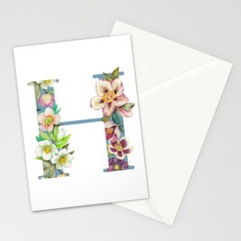 Floral Monogram Collection H Stationery Cards