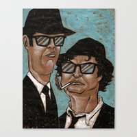 blues brothers Canvas Prints featuring The Blues Brothers by Dean Arscott Designs LLC