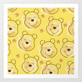 Inspired Pooh Bear surrounded with bees Pattern on Yellow background Art Print
