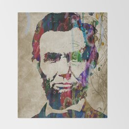 Abraham Lincoln Watercolor Modern Abstract GIANT PRINT ART Throw Blanket