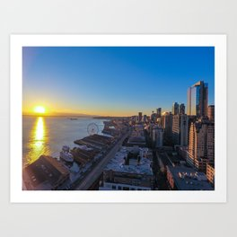 Downtown Seattle Skyline at Sunset 1 Art Print