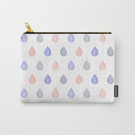 Rose quartz, serenity blue and lilac grey raindrops Carry-All Pouch
