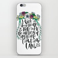 sylvia plath iPhone & iPod Skins featuring Hand-lettered Sylvia Plath quote with flowers by to florence with love