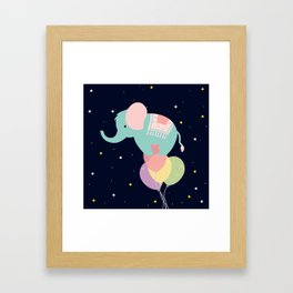 Elephant and Balloons At night , nursery decor , Framed Art Print