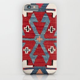 Blue Diamond Arrow Konya II // 19th Century Authentic Colorful Red Cowboy Accent Pattern iPhone Case