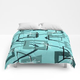 Mid Century Modern Minimalism Turquoise Comforters