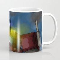 optimus prime Mugs featuring Optimus Prime, Hero of Cybertron by Brandon Draws