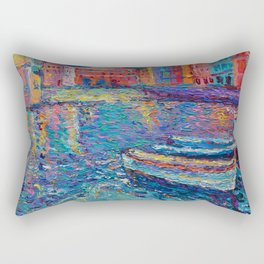 Sunset in Port of Vernazza - modern palette knife sea landscape of Italy by Adriana Dziuba Rectangular Pillow