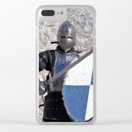 medieval armor swordsman Clear iPhone Case