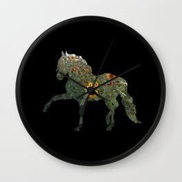 Horse Silhouetted in Sunflowers Wall Clock