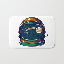Astronaut Helmet - Satellite and the Moon Bath Mat