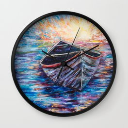 Wooden Boat at Sunrise - original oil painting with palette knife #society6 #decor #boat Wall Clock