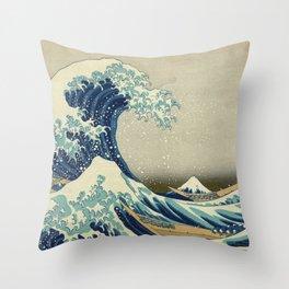 Katsushika Hokusai -The Great Wave off Kanagawa Throw Pillow