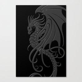 Flying Gray and Black Tribal Dragon Canvas Print
