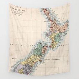 Vintage Map of New Zealand (1865) Wall Tapestry