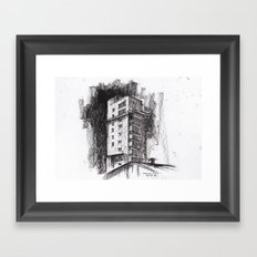 Tablattturm Stuttgart - charcoal Framed Art Print