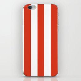 Vermilion orange - solid color - white vertical lines pattern iPhone Skin