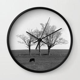 Three Trees and a Bull Wall Clock