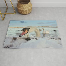 Close-Up Swan On A Snowy Day Rug